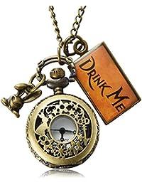 Pretty See Reloj de Bolsillo Vintage Drink me, Reloj de Cuarzo de Alicia en el País de Las Maravillas