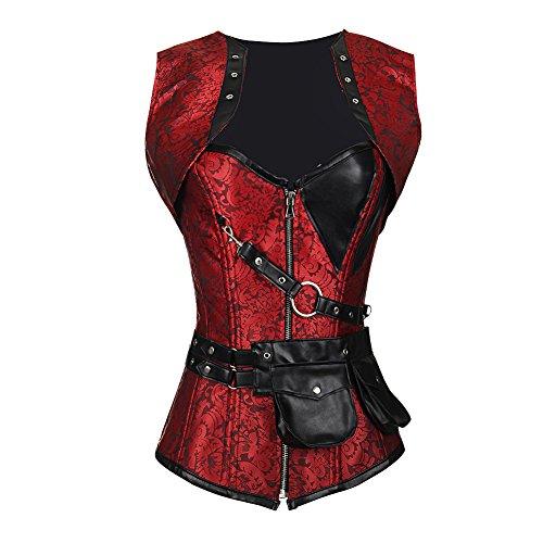 FeelinGirl Damen Korsett mit Stahlstäbchen - Brokatmuster - Retro/Gothic/Steampunk-Stahl ohne Knochen, Rot mit 24 Stäbchen, M(EU 36) -