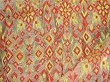 Chanderi Stoff aus Seide, Baumwolle und Gold Jari, in Rot