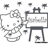 Hello Kitty mit Ihrem Wunsch-Namen, 60 x 50 cm, Farbe dunkelgrau, personalisierbar, Jede name, Kinderzimmer, Kinder, Kinderzimmer, Wandtattoo, Vinyl, Fenster und Auto, Wandsticker Wandtattoo, Windows-Kunst, ThatVinylPlace Wandtattoo
