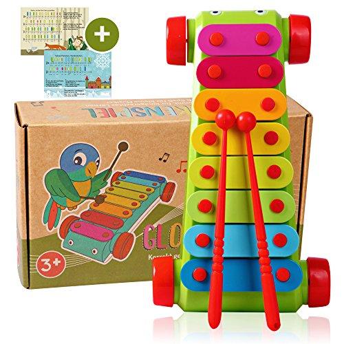 Tabalino  Xylophon für Kinder  Glockenspiel, Instrument zur musikalischen Früherziehung  inkl. e-Book mit 10 Kinderliedern zum Nachspielen  2 Schlägel  Geschenk für Mädchen, Junge, Babys