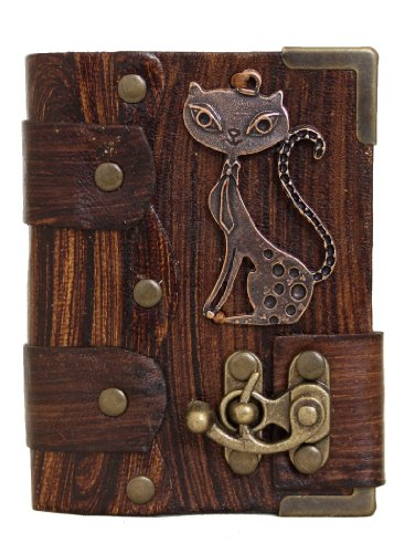 handmade-cat-pendant-on-a-brown-leather-journal-with-lock-diary-sketchbook-leatherbound-