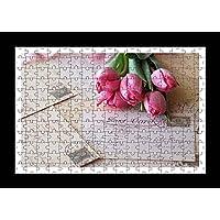 Stile Puzzle, Pre-assemblato, per stampa da parete, motivo: lettere, cartoline di tulipani, motivo Bouquet di Lisa Loft