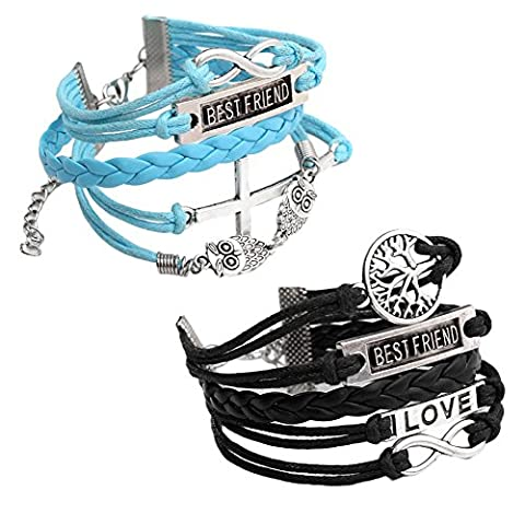 Jovivi 2pc Vintage Multilayer Charm Infinity Love Best Friend Wish Wrap Cuff Bracelet (Deep Blue&Black)