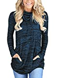 GOSOPIN Damen Sweatshirt Gestreift Rollkragen Loose Tops Farbblock Langarm Herbst Tunik S-XXL, #5, Medium (EU40-EU42)