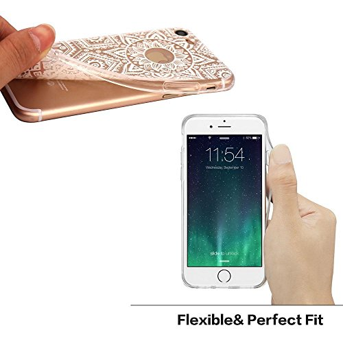 iPhone 7 Plus Case / iPhone 8 Plus Case, Walmark Beautiful Clear TPU Soft Case Rubber Silicone Skin Cover for iPhone 7 Plus / iPhone 8 Plus 5.5 inch - White Tribal Henna