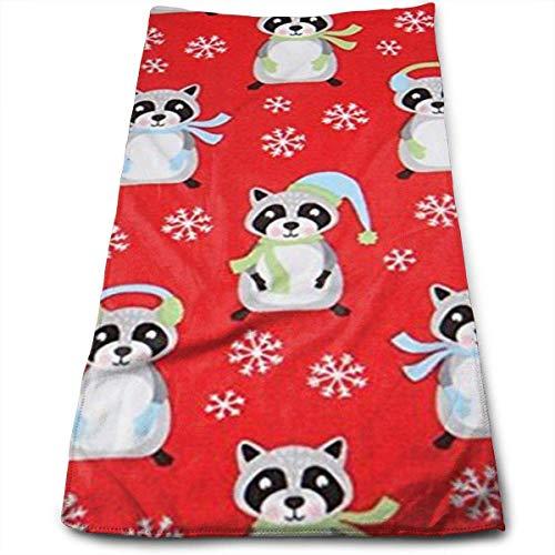 ewtretr Asciugamani Viso-Mani,Red Raccoon Snowflake Christmas Multi-Purpose Microfiber Towel Ultra...