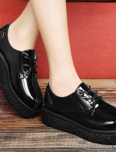 ZQ hug Scarpe Donna - Scarpe col tacco - Ufficio e lavoro / Casual / Serata e festa / Formale - Comoda / Creepers - Plateau - Vernice -Nero / , red-us8 / eu39 / uk6 / cn39 , red-us8 / eu39 / uk6 / cn3 black-us6.5-7 / eu37 / uk4.5-5 / cn37