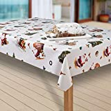 laro Wachstuch-Tischdecke Wachstischdecke PVC Tischwäsche Abwaschbar Meterware Weihnachten Nikolaus |25|, Größe:130x220 cm