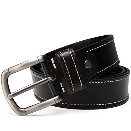 NineUp Ledergürtel,Herren leder Gürtel,Beiläufige Gürtel,zu allem passende Dorn-Verschluss Ledergürtel, modisch und prägnanter Freizeitgürtel (105CM, schwarz) (Leder Passende)
