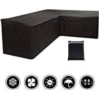 miuline L Shaped Garden Furniture Covers Dustproof Heavy Duty Outdoor Patio Rattan Corner Sofa Cover with Storage Bag for Moving or Sunscreen (215X215X87CM, Black)