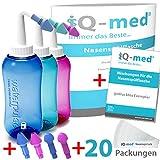 iQ-med Nasendusche 500ml + 20x Salz + Rezeptbuch + 4 Aufsätze (rosa)