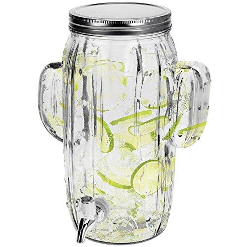 Dispensador de bebidas 4litros B23X T15x H29cm Incluye grifo diseño de cactus dispensador de zumo Jarra de cristal