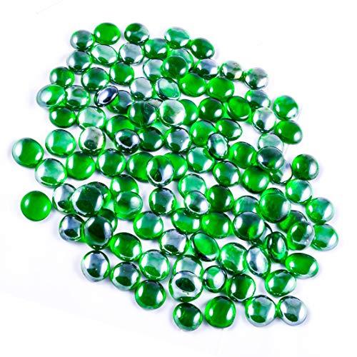 Neez Glas Kieselstein, Fliesenhandel, Runde Glassteine, Glasnuggets Irisierend, Steine, Edelsteine, Deko Mosaiksteine im Netz Taschen (Grüne Kieselsteine-200 Stücke/1kg) -