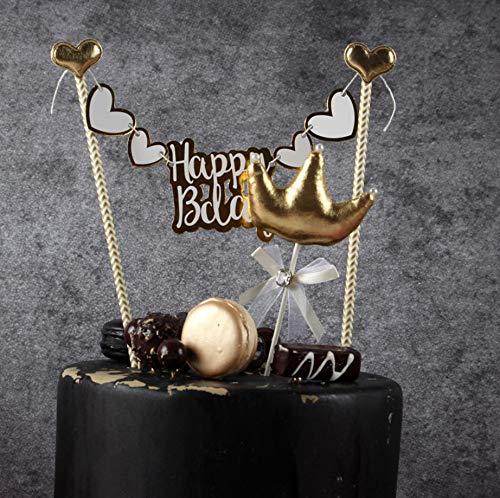 Goldfarbenes Geburtstagskuchen-Banner - Handgefertigtes PU-Herz Flagge Banner Tortenaufsatz mit hölzernen Polls - perfekt für Kuchen, Donut-Kuchen, Cupcakes und mehr.