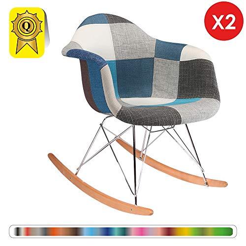 Decopresto 2 x Schaukelstuhl Eiffel Inspiration Natürliche Beine. Chrom. Sitz blau Patchwork DP-RARL-PCB-2