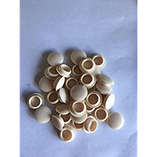 HARDWARE FOR YOU LTD PACK OF 50 ALMOND IVORY PUSH FIT 10MM SCREW HOLE COVER CAPS