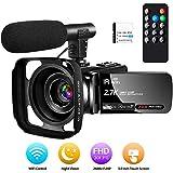 Camcorder Videokamera 2.7K Full HD Camcorder 30 FPS 24MP WiFi-Camcorder mit IR-Nachtsicht-Videokamera mit Mikrofon und Gegenlichtblende...