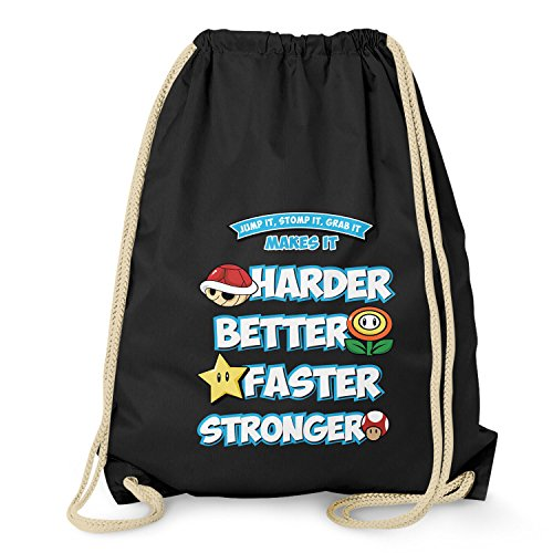 ds racer NERDO - Harder Better Faster Stronger - Turnbeutel, schwarz