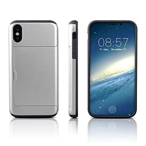 iPhone X Hülle ZaPro® Kartenfach Schutz über den Displayrand Doppelte Schutzschicht Silikon TPU + PC Handyhülle Extrem Hoher Fallschutz Card Holder Schutzhülle für iPhone X Case Cover(Silber)