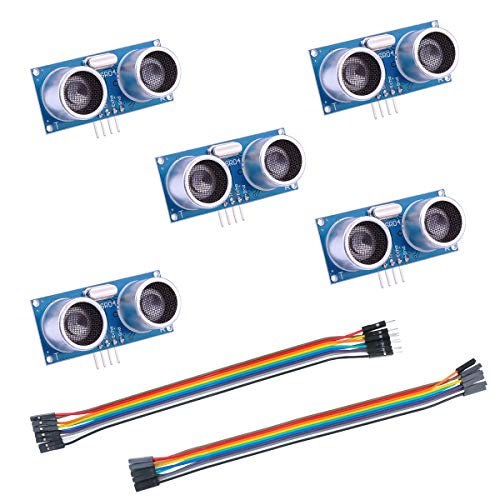 Elegoo 5er HC-SR04 Ultraschallmodul und Distanzsensor für Arduino UNO, MEGA2560, Nano, Roboter, XBee, ZigBee, und Weitere