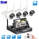 """SW NVR 4 CH WiFi avec écran 7"""" 4 caméras de vidéosurveillance sans fil étanche Angle de vue large 720p Vision nocturne Plug et Play Pas de disque dur"""