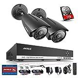 ANNKE 1080P Lite 4 CH DVR y 2 Cámaras con 1TB Disco Duro de vigilancia Visión Nocturna y Detección de Movimientos IP66 Interior y Exterior