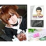 Japanese Anime Wigs @ Cardcaptor Sakura KINOMOTO SAKURA 35cm Brown Short Straight with Non Removable Short Pigtail + Wigs Cap + Anti-dust Plug Stopper