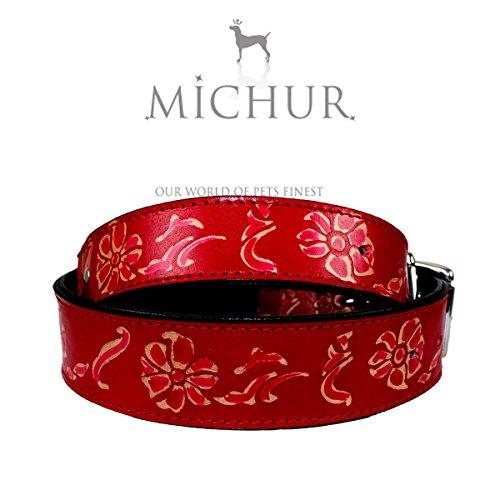 hundeinfo24.de MICHUR Cheyenne, Hundehalsband, Lederhalsband, Halsband,ROT, LEDER, mit gestanzten Blumenmuster, in verschiedenen Größen erhältlich