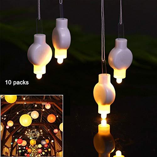 Mini Hanging Lantern Lights LED-Leuchten für Papierlaternen Ballons Wasserdicht Batteriebetrieben für Ostern Party Dekoration 10 Packungen Warmweiß (Led Ballon Lights)