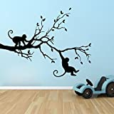 Decor Kafe 'Monkey Nature' Wall Sticker (PVC Vinyl, 58.42 cm x 76.2 cm, Black)