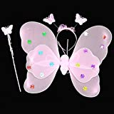 Wobbox Girls Butterfly Wings, Fairy Wings, And Angel Wings For Kids. For Garden Parties, Birthday Parties And Much More. 3 Piece Set Double Layer (Pink)