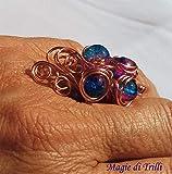 Magie di Trilli - Anello artigianale donna in filo per gioielli rame, con perle cangianti rosa e blu, regolabile - Idea regalo San Valentino