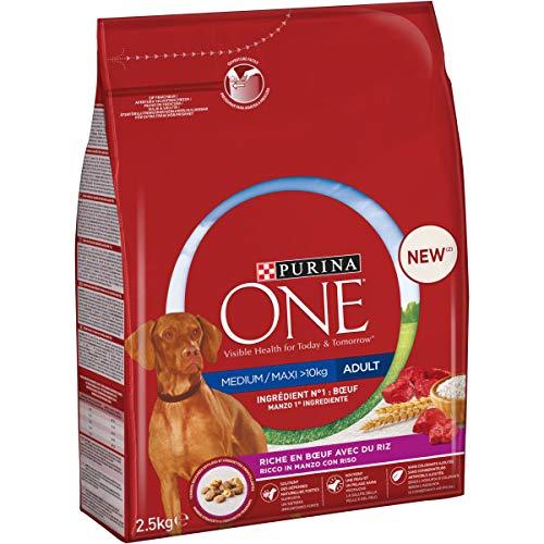 Purina One Medium/Maxi  10 kg Crocchette Cane Adult Ricco in Manzo con Riso, 4 Sacchi da 2.5 kg Ciascuno