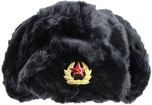 Russian Tschapka Kunstfell Wintermütze Schwarz L