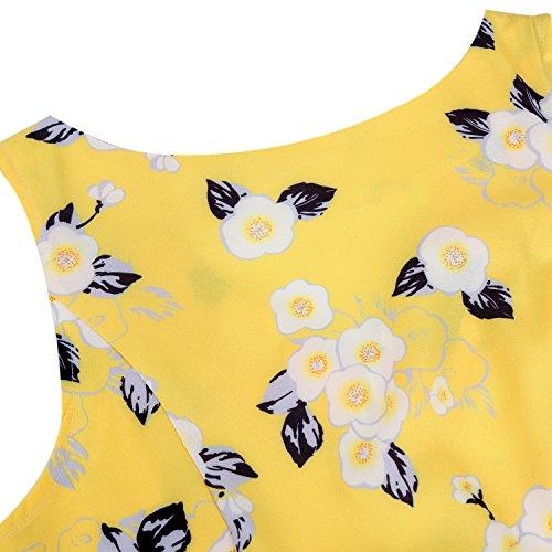 IHOT Elegant Damen 1950er Retro Vintage Floral Party Cocktailkleider Abendkleider Sommerkleid Knielang Gelb weiss