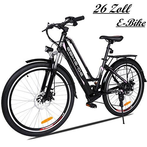 Coorun 26Zoll Elektrofahrrad 36V 8A Mountainbike Damen E-Bike Aluminium mit 250W Hochgeschwindigkeits-Bürstenlose Motor, Große Kapazität Lithium-Akku und Gepäckträger