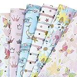 RUSPEPA Geschenkpapier Papierbögen - Rosa Und Blau Geschenkpapier Für Geburtstag, Urlaub, Baby Shower Geschenkpapier - 6 Gefaltete Blätter - 50Cm X70Cm