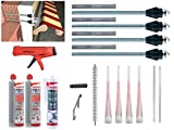 Fischer Thermax Befestigungsset 4 x 16/170 M12 Hochleistungsmörtel FIS V 360 S Multi Kleb 2-Kammer Kartuschenpistole Bürste