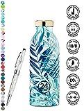 Le bottiglie ecologiche di bottles24 in acciaio inossidabile, leggero e robusto, hanno la chiusura a vite, che assicura un trasporto sicuro.Così sono perfettamente adatto per il viaggio, la scuola, la palestra, o le attività all'aperto.Con ...