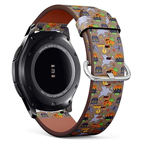 mit für Samsung Gear S3 Frontier/Classic - Leder-Armband Uhrenarmband Ersatzarmbänder mit Schnellverschluss (Niedlicher Cartoon Halloween) ()