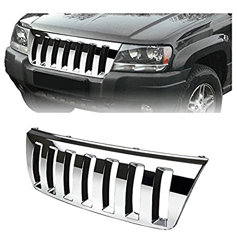 Mifeier Fit 99-04 Grand Cherokee WJ Chrome H2 Style Vertical Front Grille by Mifeier