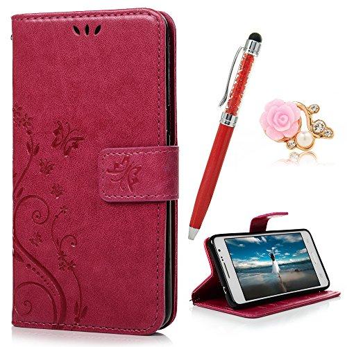 YOKIRIN Grand Prime G5308 G530 Wallet Case Schmetterling Flip Hülle Schutzhülle PU Leder Handytasche Bookstyle Stand Kartenfächer Magnet Case für Samsung Galaxy Grand Prime G5308 G530 Rose Rot