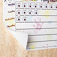 Premium Quality Potty Training Reward Chart, Multi Use Removable Self Sticking Plastic Wall Chart and 280 Removable Stickers
