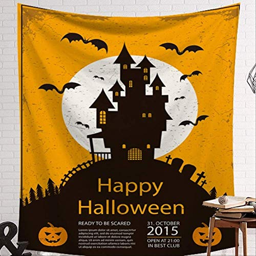 HCYHU Halloween Party Tapestry Beach Tapestry Orange and Black Background Wall Art Dorm Shop Hanging Decoration New Item 150cm*200cm