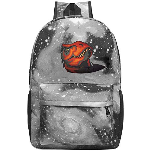 dsgsd Schultasche Red Dinosaur Print Casual Large-Capacity Star Backpack Unisex Travel Bag Gray