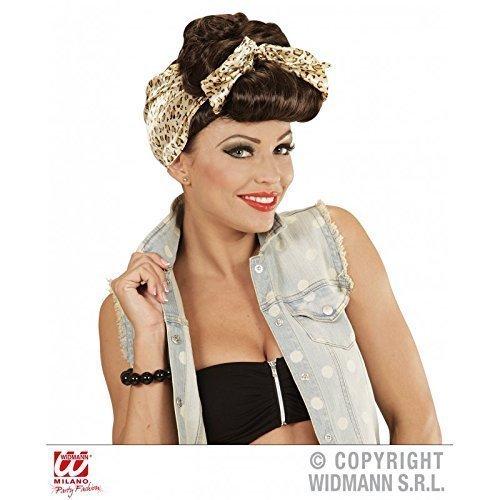 Perücke / Wig Rockabilly Pin up 50 er / 50er / 50'er in braun mit Kopftuch / Kostüm Zubehör (Pin Up Kostüme Für Kinder)