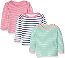Care Baby Girls' Birte Long Sleeve Top, Pack of 3, Multicoloured (Rose), 56