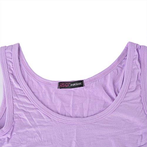 Vertvie Damen Bauchfreies Top Weste mit X-Rücken aus Modal Lila