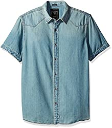GUESS Mens Casual Shirt (190761236487_M64H11D1C72_Large_Blue)